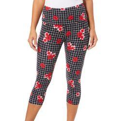Khakis & Co Petite Suave Hibiscus Grid Print Capri Leggings