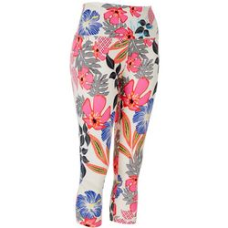 Khakis & Co Petite Graphic Hibiscus Print Capri Leggings
