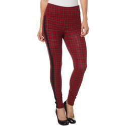 Intro Petite Plaid Side Stripe Tummy Control Leggings