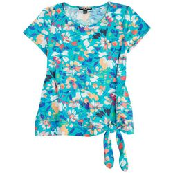 Cable & Gauge Petite Printed Tie Front Top