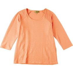 HC LA Petite Solid Scoop Neck 3/4 Sleeve