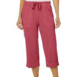 Hot Cotton Petite Solid Drawstring Pull On Capris