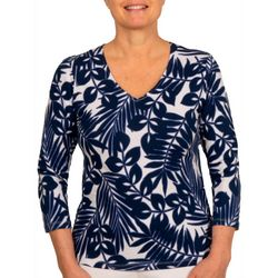 Hearts of Palm Petite Essentials Palm Print Top