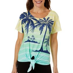 Hearts of Palm Petite Stripes and Sails Palm Tie Front Top