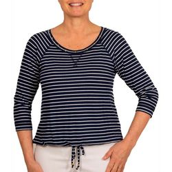 Hearts of Palm Petite Stripes & Sails Striped Round Neck Top