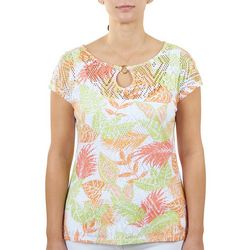 Hearts of Palm Petite Short Sleeve Printed Top