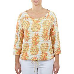 Hearts of Palm Petite Pineapple Printed 3/4 Sleeve Top