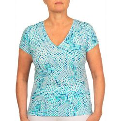Hearts of Palm Petite Printed Essentials Geo Surplice Top