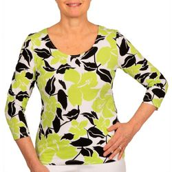 Hearts of Palm Petite Essentials Tropical Hibiscus Top