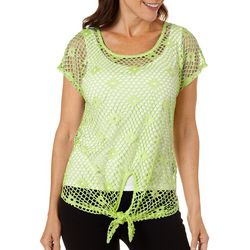 Hearts of Palm Petite In The Limelight Tie Front Top