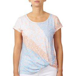 Hearts of Palm Petite Embellished Ditsy Twist Top