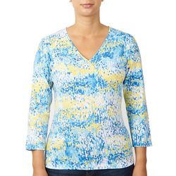 Hearts of Printed Petite Palm Essentials 3/4 Sleeve Top