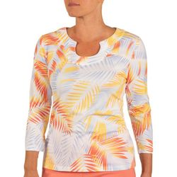 Hearts of Palm Petite Palm Fronds Print Top