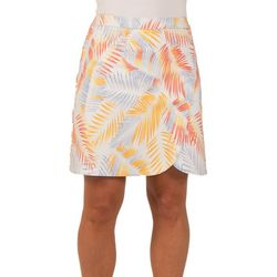 Hearts of Palm Petite Palm Frond Faux Wrap Skirt