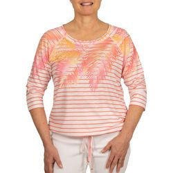 Hearts of Palm Petite Palm Frond & Stripe Print Top
