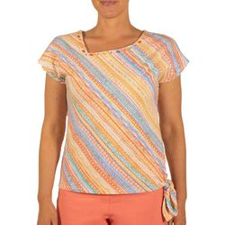 Hearts of Palm Petite Striped Asymmetrical Neck Top