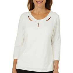 Hearts of Palm Petite Rue De La Ruby Solid Twist Neck Top