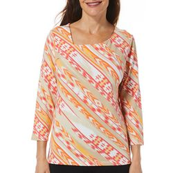 Hearts of Palm Petite Printed Essentials Coral Haze Top