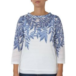 Hearts of Palm Petite Leaf Stripe Overlay Top