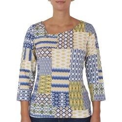 Hearts of Palm Petite Geometric Asymmetrical Neck Top