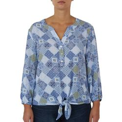 Hearts of Palm Petite Square Medallion Tie Front Top