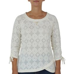 Hearts of Palm Petite Diamond Medallion Tie Sleeve Top
