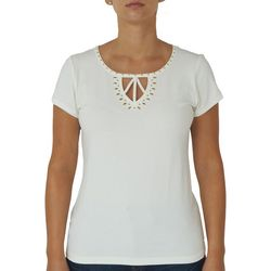 Hearts of Palm Petite Solid Embellished Keyhole Top