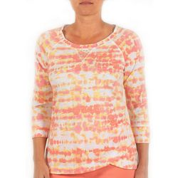 Hearts of Palm Petite Tie Dye Print Embellished Top