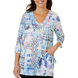 Thomas & Olivia Petite Graphic Print Side Pocket Top