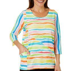 Thomas & Olivia Petite Textured Stripe Round Neck Top