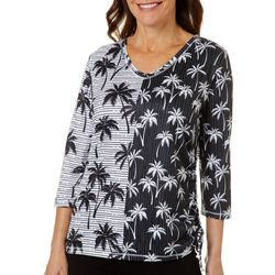 Thomas & Olivia Petite Palm Tree Print Side Tie Top