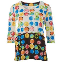Thomas & Olivia Petite Graphic Dot Print Round Neck Top