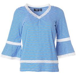 Onque Casual Petite Striped Bell Sleeve Top