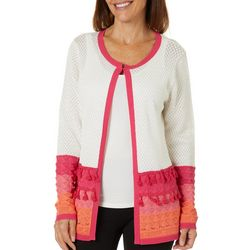 Cabana Cay Petite Open Front Striped Cardigan