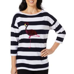 Cabana Cay Petite Striped Flamingo Side Split Hemline Top