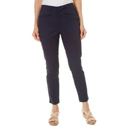 Caribbean Joe Petite High Rise Solid Pull On Ankle Pants