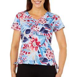 Caribbean Joe Petite Ruched Floral Print Top