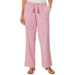 Caribbean Joe Petite Medallion Print Pull On Soft Pants