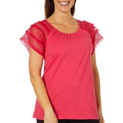 Caribbean Joe Petite Solid Crochet Fringe Sleeve Top