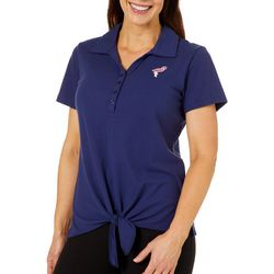 Caribbean Joe Petite Flamingo Tie Front Polo Shirt