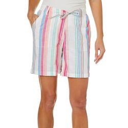 Caribbean Joe Petite Striped Pull On Drawsting Waist Shorts