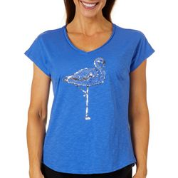 Caribbean Joe Petite Sequin Embellished Flamingo Top