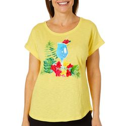 Caribbean Joe Petite Textured Floral Cocktail Top