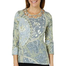Caribbean Joe Petite Gypsy Rose Caged Neck Top