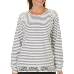 Caribbean Joe Petite Striped Lace Sweater