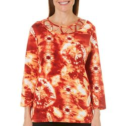 Caribbean Joe Petite Caged Neck Tie Dye Top