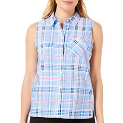 Caribbean Joe Petite Plaid Print Button Down Sleeveless Top