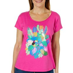 Caribbean Joe Petite Tropical Toucan Short Sleeve Top