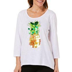 Caribbean Joe Petite Embellished Tropical Pineapple Top