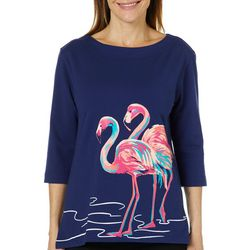 Caribbean Joe Petite Twin Flamingo Top
